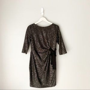 Taylor sequin holiday 3/4 sleeve party dress